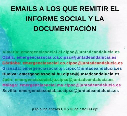 EMAILS A LOS QUE REMITIR EL INFORME SOCIAL Y LA DOCUMENTACIÓN